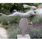 leaping hare - bronze